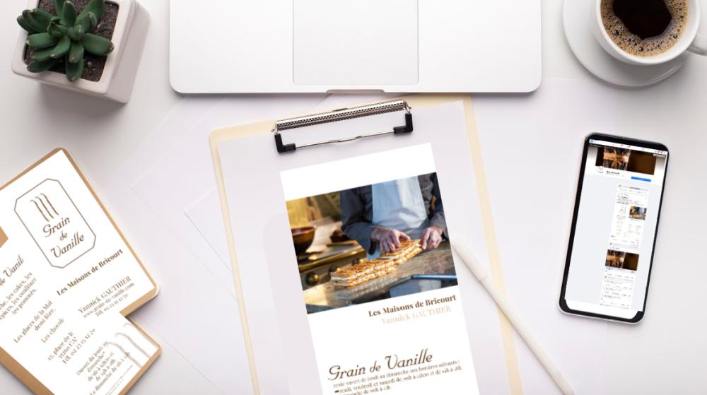 Travail fait sur la pâtisserie Grain de Vanille à Cancale, print et web